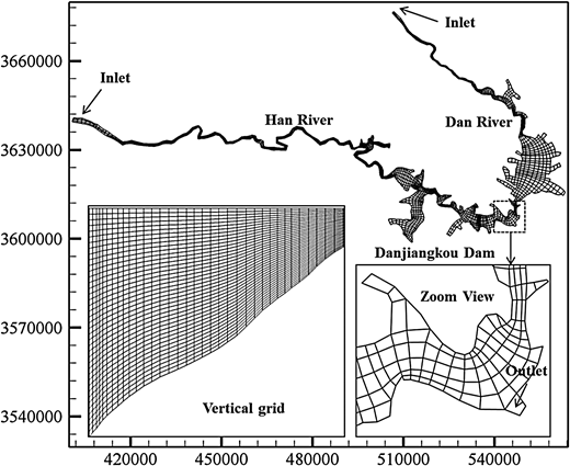 Grid map for Danjiangkou reservoir.