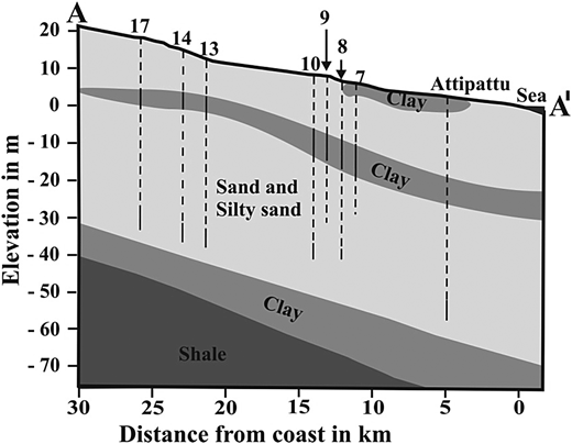 Subsurface west to east geological cross section along A–A' of the study area.