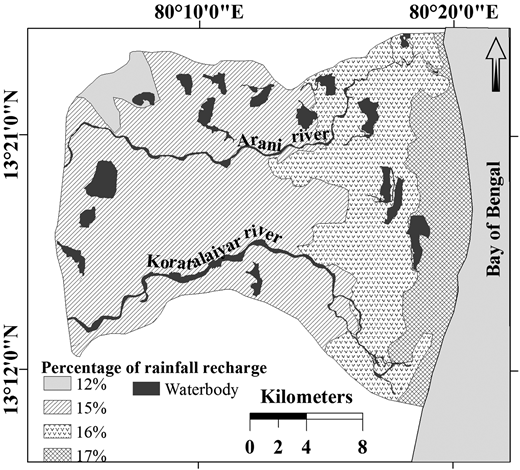 Spatial variation in groundwater recharge from rainfall.