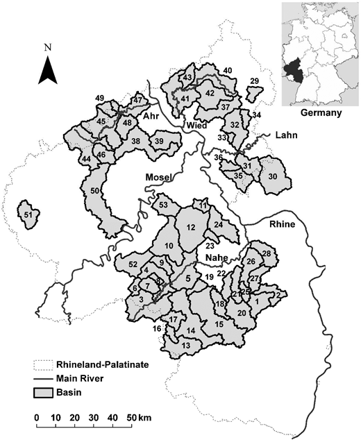 The 53 basins of the study area in Germany. Nested basins are sorted by size: only the headwater basins are displayed completely. Numbers refer to list of basins (ID) in Appendix 1 (available in the online version of this paper). Small map of Germany: Wikipedia.org/wiki/Datei:Locator_map_Rhineland-Palatinate_in_Germany.svg (last accessed June 2014).