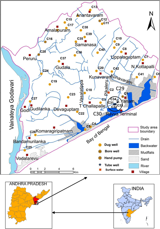 Location of the study area and observation wells in the central Godavari delta.