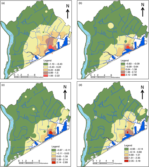 Spatial distribution of factor scores for factor 1 from 2006 to 2007, pre-monsoon 2006 (a), post-monsoon 2006 (b), pre-monsoon 2007 (c), post-monsoon 2007 (d).