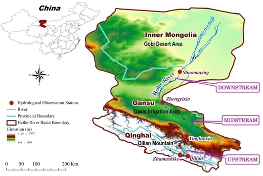 The upstream mountain, midstream oasis, and downstream desert regions in the Heihe River basin.