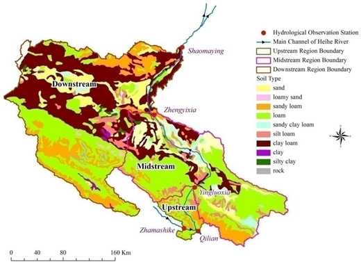 Distribution of soil type in the upstream, midstream, and downstream regions of the Heihe River basin.