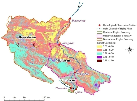 Distribution of runoff coefficient in the upstream, midstream, and downstream regions of the Heihe River basin.