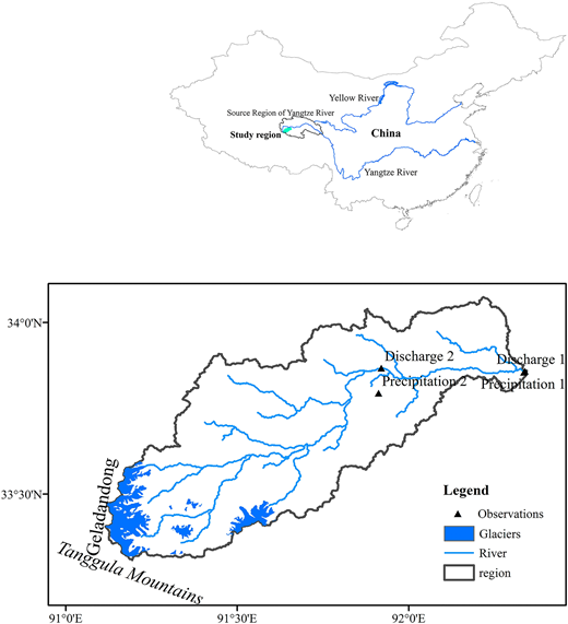 Location of the study region (Gaerqu River catchment) and the sites where field observations and water samples were collected.