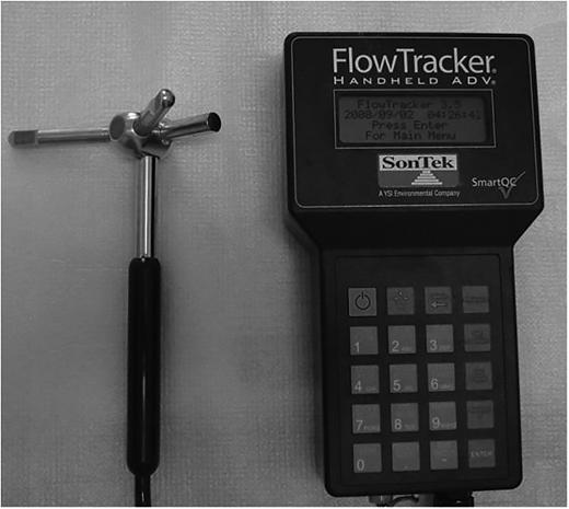 Acoustic Doppler velocimeter, Sontek FlowTracker.