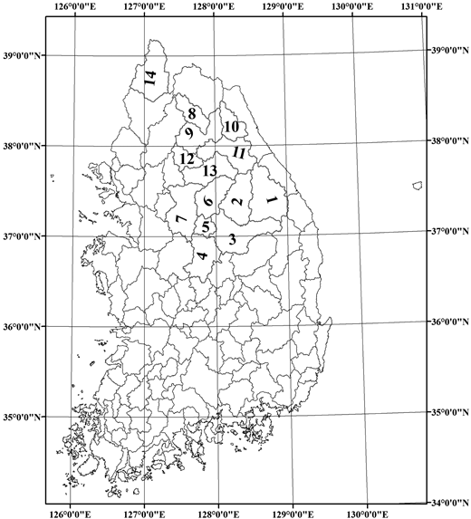 Study area map (while the numbers in the figure denote the arbitrary assigned number to selected individual catchment).