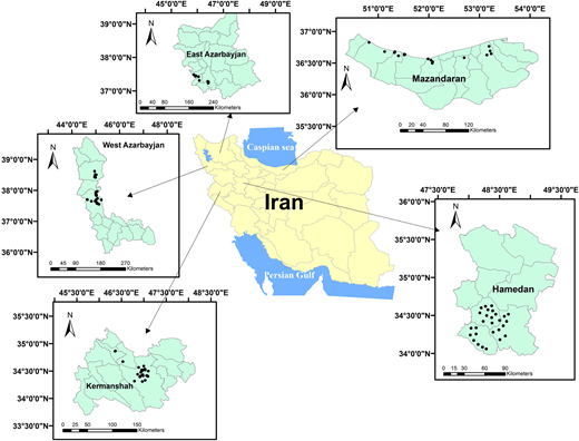 Study area locations in Guilan province, Iran.