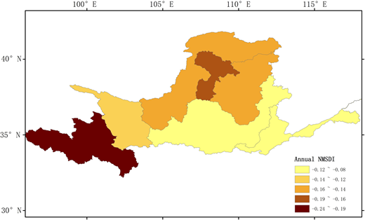 The spatial distribution of mean annual 1-month NMSDI in each sub-basin in the YRB.
