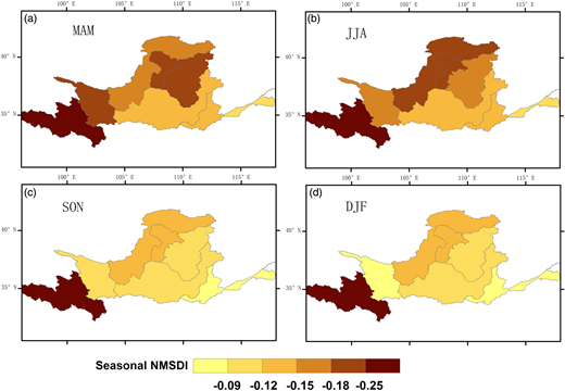 The spatial distribution of mean seasonal 1-month NMSDI in each sub-basin in the YRB; (a), (b), (c), and (d) denote spring, summer, autumn, and winter, respectively.