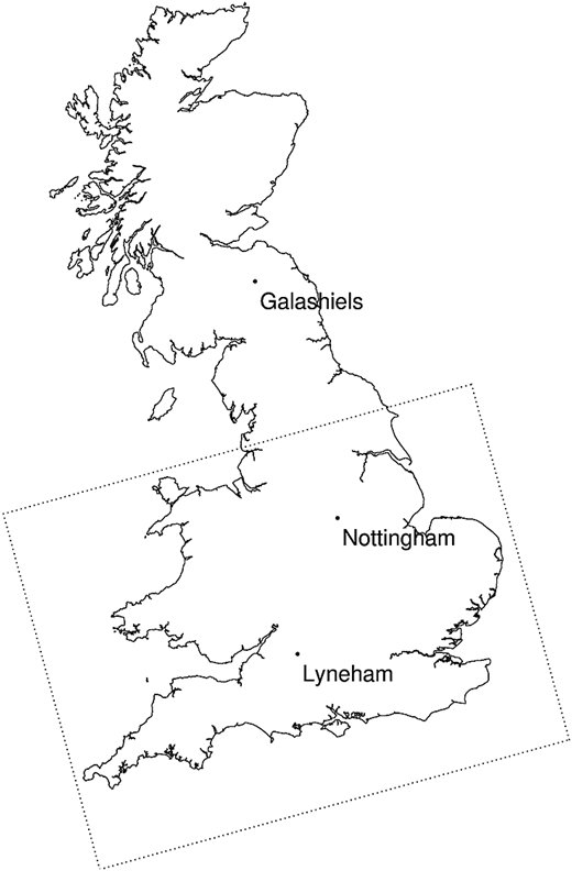 Map showing the 1.5 km RCM domain (dotted line) and the locations of three MORECS sites used in the analysis (points).