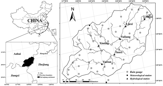 Location of study catchment and locations of rain gauges, meteorological station, and hydrological station.