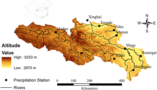 The Yellow River source region topography, river network and precipitation stations.