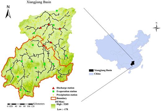 Distribution diagram of runoff station, evaporation station and precipitation station of Xiangjiang basin.