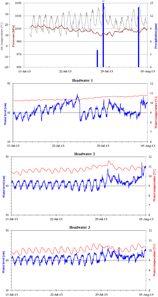Fluctuations in water level in headwaters and temperature and the accompanying meteorological conditions in summer 2013.