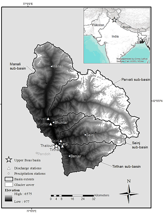 Topographic map of the Upper Beas basin. Glacier covered area in white. Five discharge stations and six meteorological stations are marked. Location on the Indian subcontinent marked as star on the inlay map.