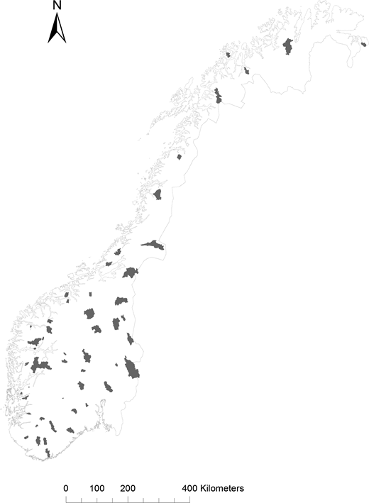 Location of the 55 study catchments in Norway.