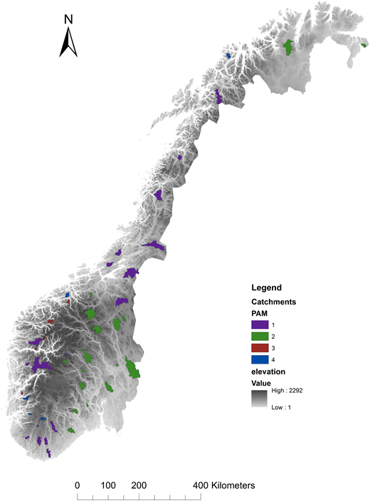 PAM cluster analysis for the selected catchments, based on Q, Hl, Lk and DrInd for the catchments.