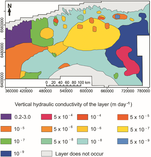 Vertical hydraulic conductivity (m day–1) of the regional Cambrian aquitard.