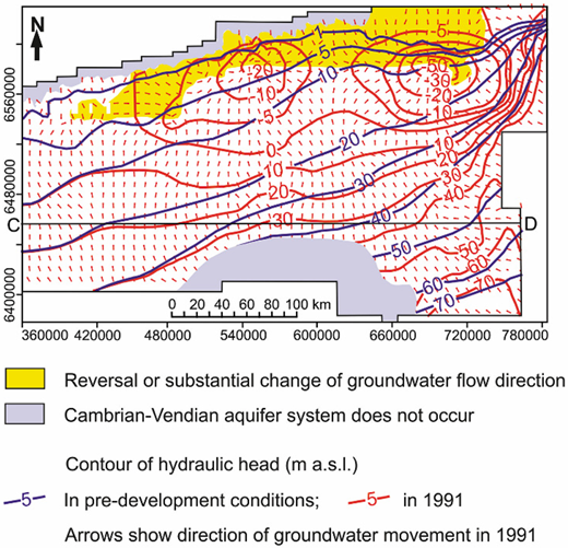 Simulated groundwater hydraulic heads in the Cambrian–Vendian aquifer system.