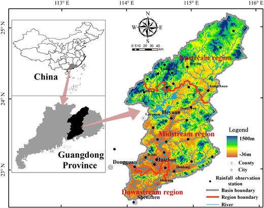 Map of the Dongjiang River basin.