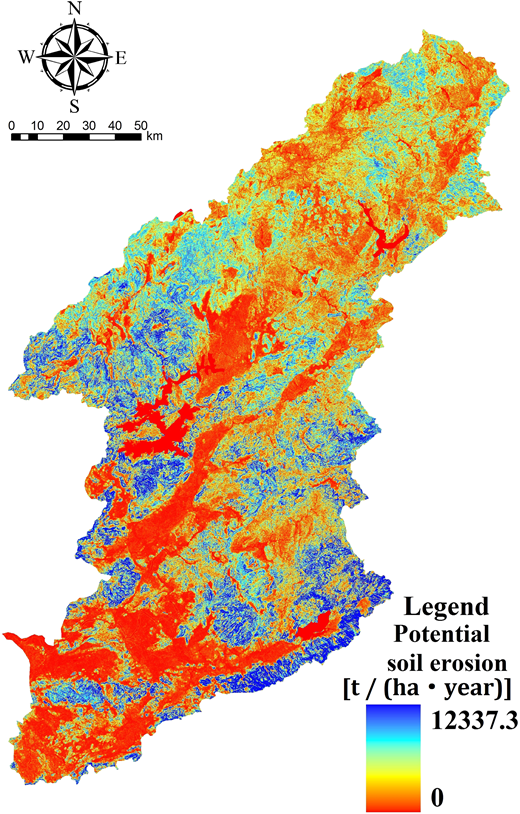 Spatial distribution of potential soil erosion in the Dongjiang River basin.