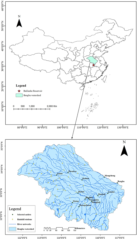 The geographical location and hydrological information of the study area in China.