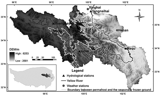 Distribution of the hydrological and meteorological stations in the UYRB.