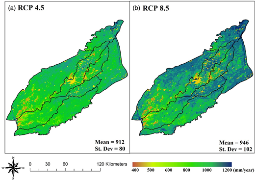 Spatial variation of average annual CWU (2013–2020) in the LCC irrigation scheme under climate change scenarios (a) RCP 4.5 and (b) RCP 8.5.
