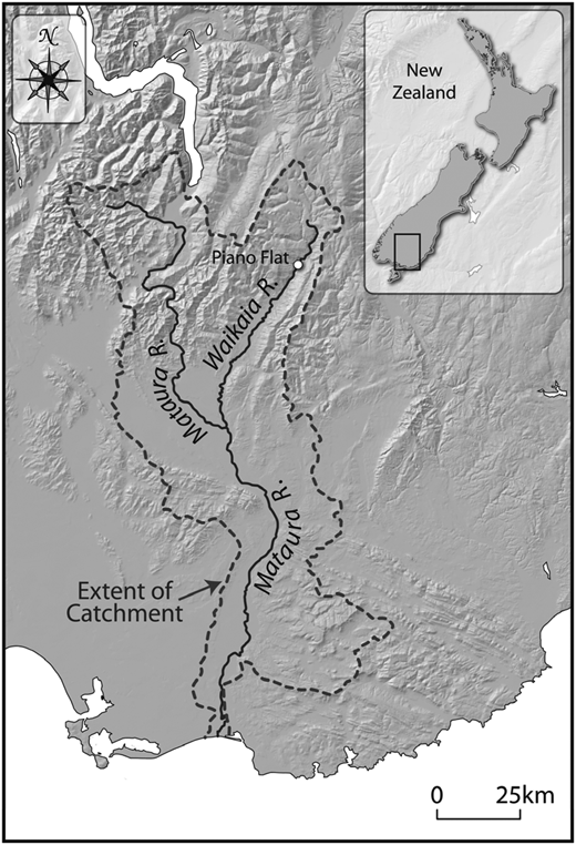 The location of the Waikaia River and Piano Flat within the larger Mataura catchment and New Zealand.