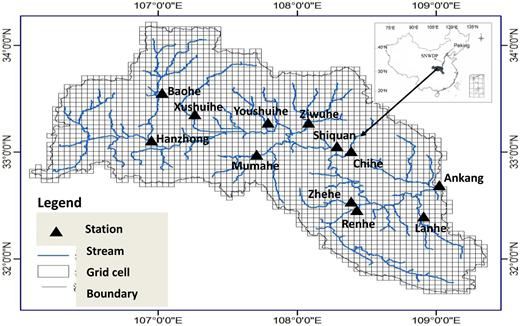 Location of 12 main streamflow stations of the Ankang basin in China.