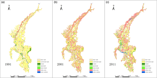 Land use/cover maps of 1991, 2001 and 2011.