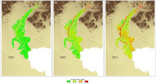 Water depth maps for (a) 1991, (b) 2001 and (c) 2011.