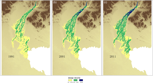 Flow velocity maps for (a) 1991, (b) 2001 and (c) 2011.
