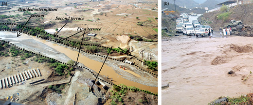 (a) Aerial photograph of washed up road, Jazan area (29/8/2010), and (b) the road is submerged during a flood, Jazan area (10/8/2003).