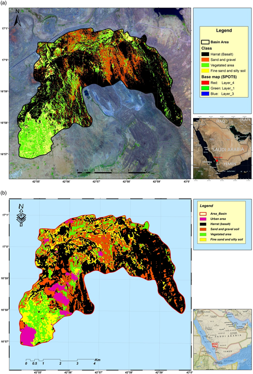 (a) Land-use map of the study area classified according to: (a) SPOT-5 Satellite image (2010); (b) Landsat-8 Satellite image (2015).