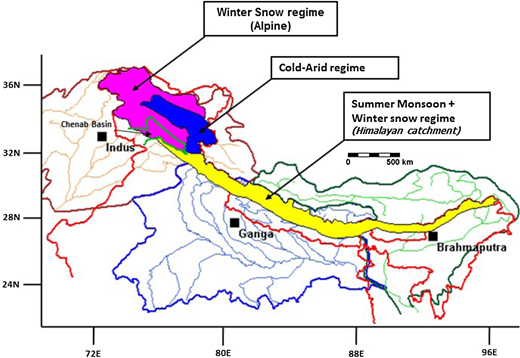 Glacio-hydrological regimes of Himalaya depicting the cold-arid regime of the study area (after Thayyen & Gergan 2010).