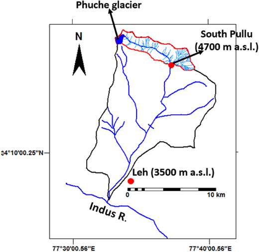 Study area map showing location of sampling site at South Pullu station (Source:Thayyen & Dimri 2014).