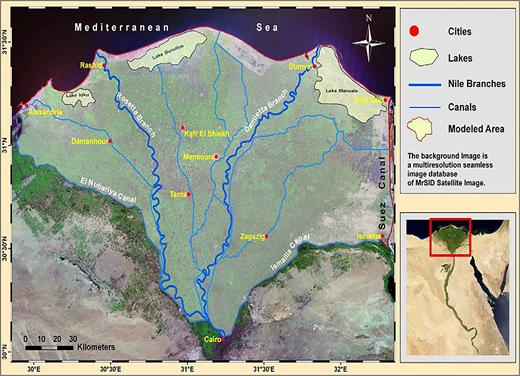 The location map of Eastern Nile Delta aquifer (Sherif et al. 2012).