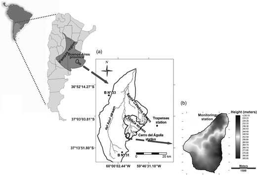 (a) Location of the small watershed under study in the basin of the Videla stream, recording raingauges (Cerro del Águila and Trapenses) and groundwater monitoring stations (B No. 31 and B No. 33). (b) Detail of the small watershed with location of the flow monitoring and runoff water sampling station.