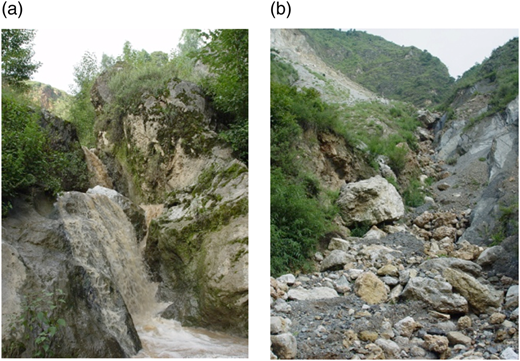 Large-scale natural bed structures showing (a) bedrock steps and (b) boulder cascade.