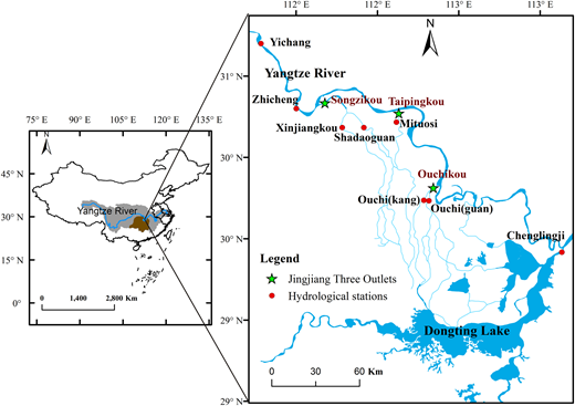 Geophysical location of the JTO in the Yangtze River basin. Zhicheng is the control hydrological station of the Jingjiang Reach. The Yangtze River diverts discharge to the Dongting Lake by the JTO channels.