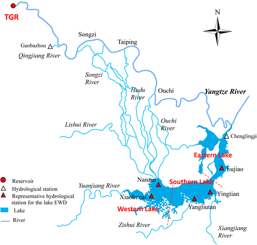 Map of Dongting Lake and location of lake gauging stations.