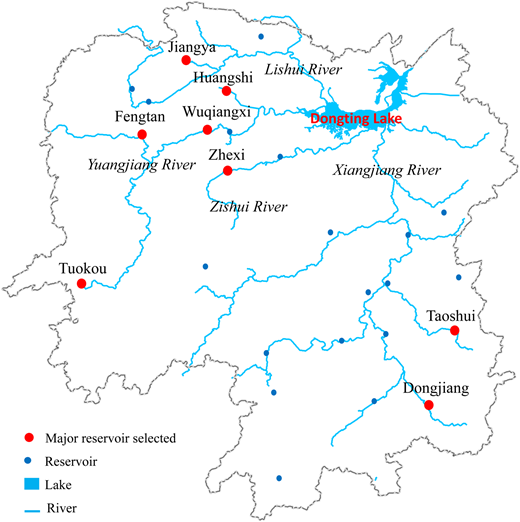 Map of Dongting Lake tributaries and location of tributary reservoirs.