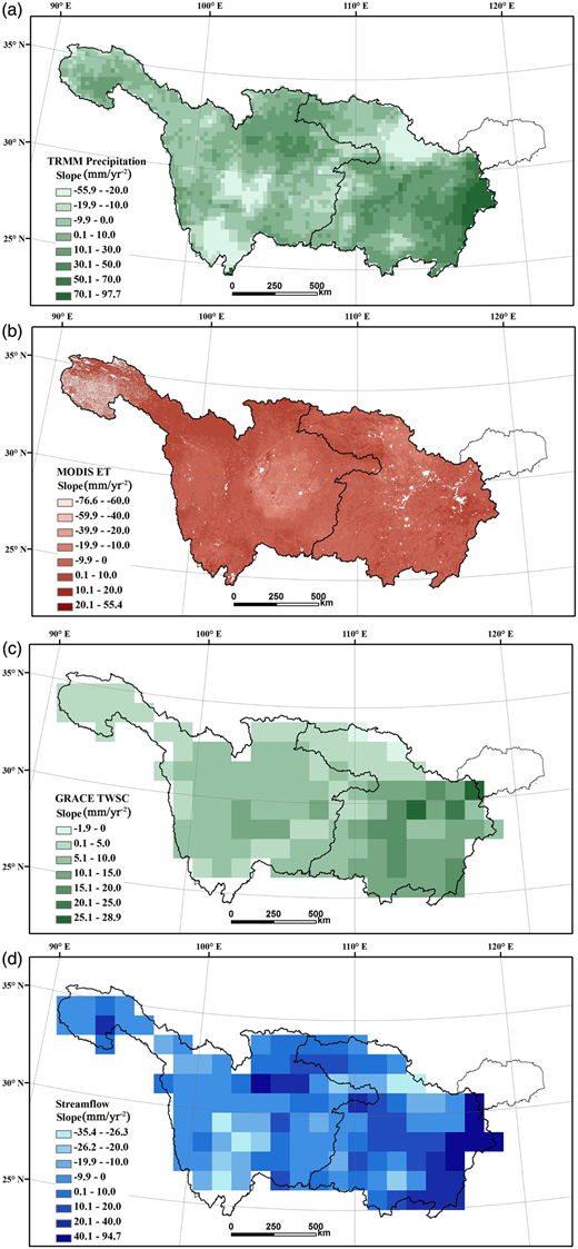 Spatial distributions of trends in water balance components from 2003 to 2012 for the YRB: (a) TRMM precipitation; (b) MODIS evapotranspiration; (c) GRACE TWSC; and (d) stream flow as the sum of multiple satellite products.