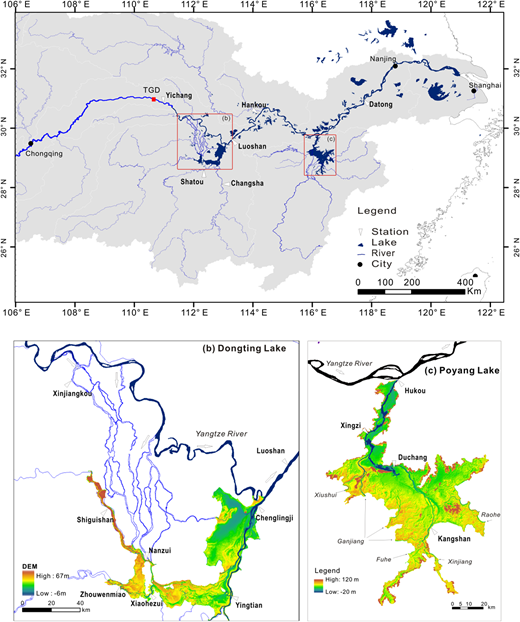Location of the Three Gorges Dam (TGD) and water system in the Middle Yangtze including China's two largest freshwater lakes, namely, (b) Dongting and (c) Poyang.