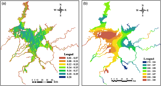 Parameters of the Poyang Lake hydrodynamic model: (a) orthogonality; (b) resolution (m). The full color version of this figure is available online and is free to view: http://dx.doi.org/10.2166/nh.2016.174.