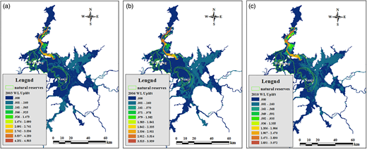 Uplift distribution of average water level of Poyang Lake during low-flow period in different scenario years as caused by the minimum control water level of 11 m: (a) 2003 (dry year); (b) 2006 (normal year); (c) 2010 (wet year). The full color version of this figure is available online and is free to view: http://dx.doi.org/10.2166/nh.2016.174.