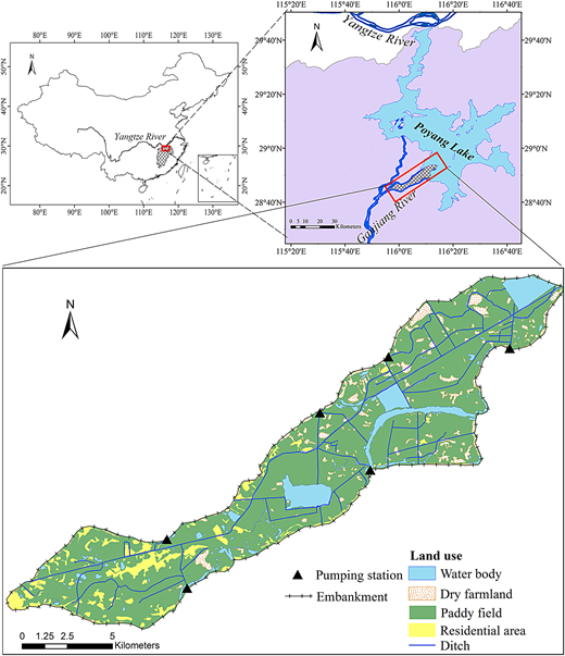 Location of Jiangxiang polder and its land use types (in 2010). Please refer to the online version of this paper to see this figure in color: http://dx.doi.org/10.2166/nh.2016.204.